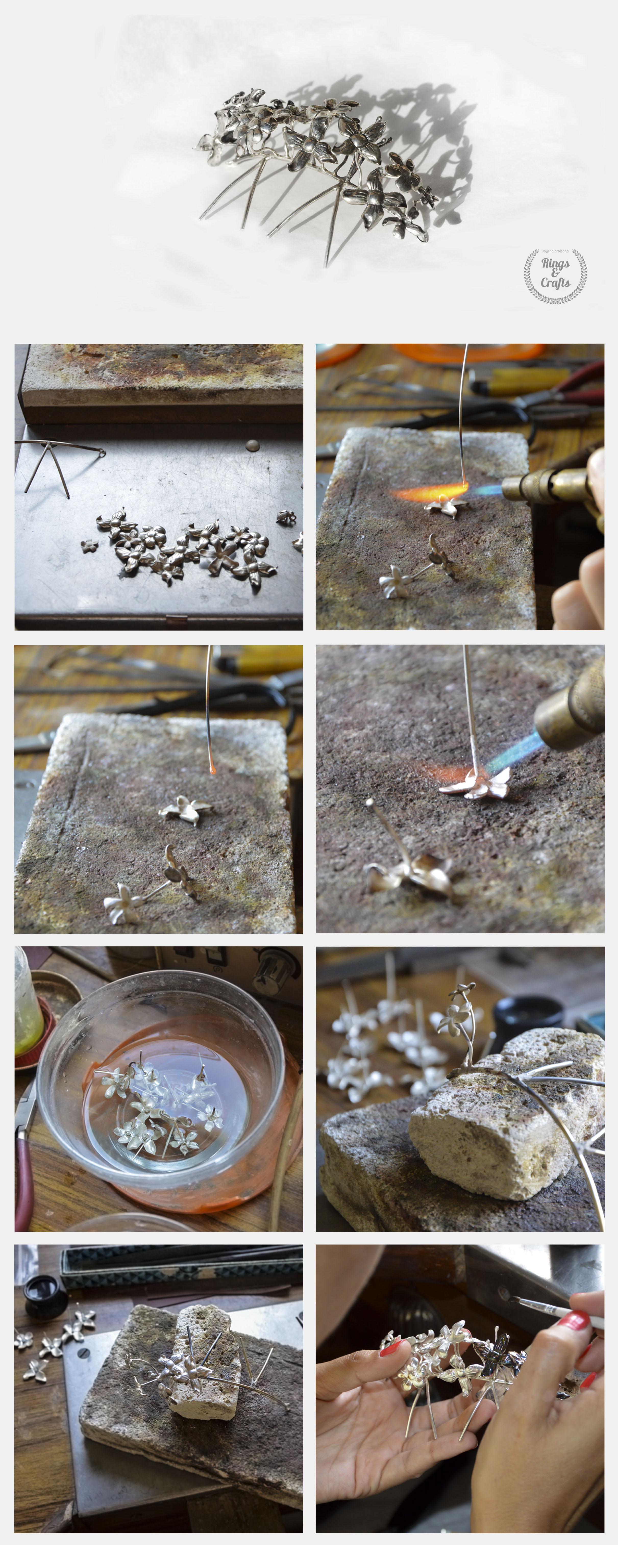 Tocado de flores de plata hecho a mano.