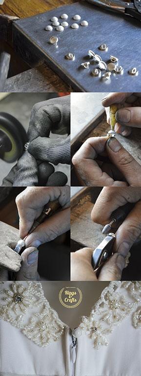 Botones de plata y esmalte al fuego hechos a mano.