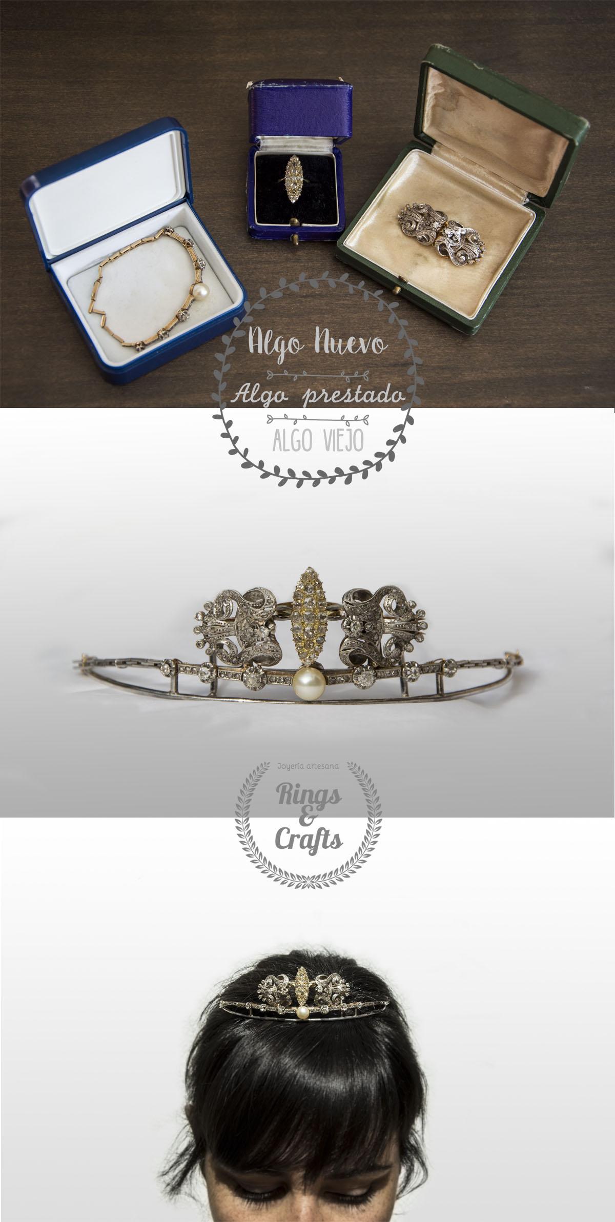 Tiara montada a mano con piezas de joyería antiguas